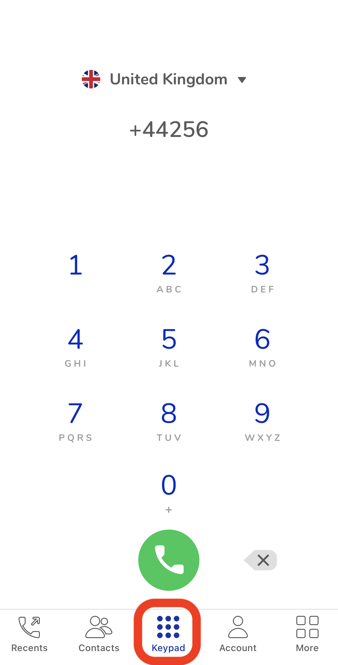 MoreMins iPhone app keypad